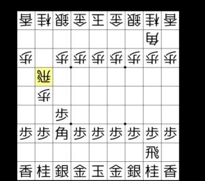【図1-1 浮き浮き飛車の構え】